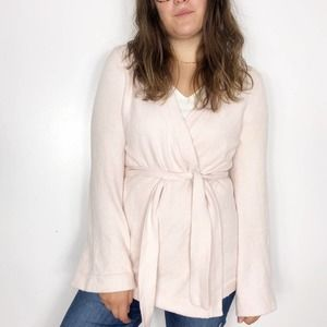 LOFT   Baby Pink Wrap Sweater Flare Sleeves Small